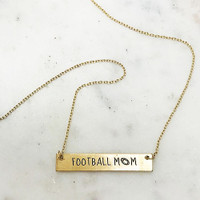Football Mom Etched Bar Necklace