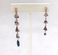 Dark Multi-Colored Linked Crystal Pyramid & Chain Earring