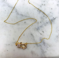 Baby Pavé Cubic Zirconia Lobster Claw Necklace
