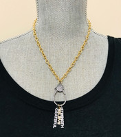 Large Loop Cubic Zirconia Lobster Claw Chain in Gold and Black