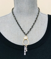 Large Loop Cubic Zirconia Lobster Claw Chain in Black and Gold