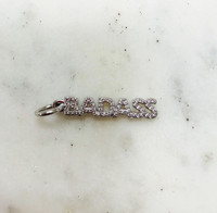 Pave Cubic Zirconia Various Word Charms in Silver