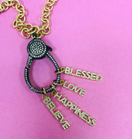 Pave Cubic Zirconia Various Word Charms in Gold