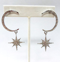 Pave Galaxy Moon/Star Dangle Earrings