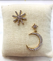 Mismatched Starburst/ Moon Pave Earrings