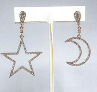 Star and Moon Crystal Outline Dangle Earrings
