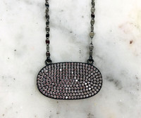 Black Gunmetal Vermeil Pave Cubic Zirconia Oval Necklace