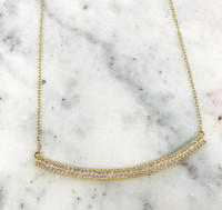Gold Vermeil Cubic Zirconia Curved Bar Necklace