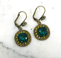 Sorrelli Teal and Sunflower Cushion Crystal Dangle