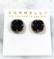 Sorrelli Amethyst/Ant.Gold Cushion Cut Post Earrings