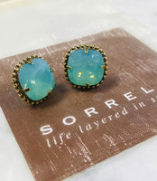 Sorrelli Pacific Opal/Ant.Gold Cushion Cut Post Earrings