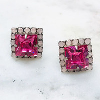 Sorrelli Square Cut Pink Crystal Set