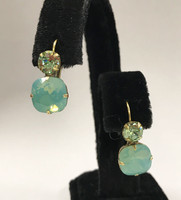 Sorrelli Double Crystal Ant. Gold Peridot and Pacific Opal Earring