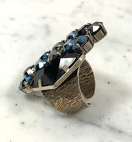 Frangos Jet Black & Blue Swarovski Statement Ring