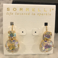 Sorrelli Aurora Borealis Double Crystal Bright Gold  French Wire Earrings