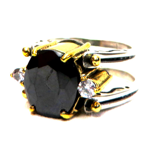 Reversible High-Set Gemstone Rings Lab, Onyx