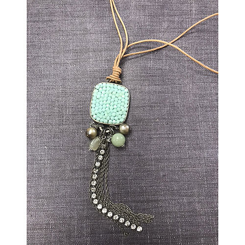 Mint Alabaster Crystal Cluster Leather Necklace
