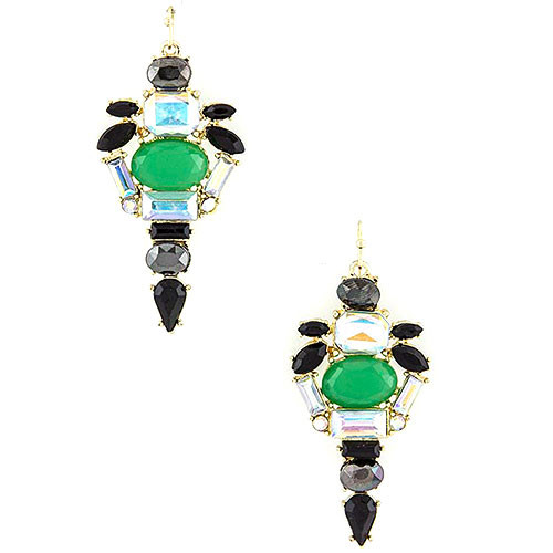 Green Caviar Crystal Dangle