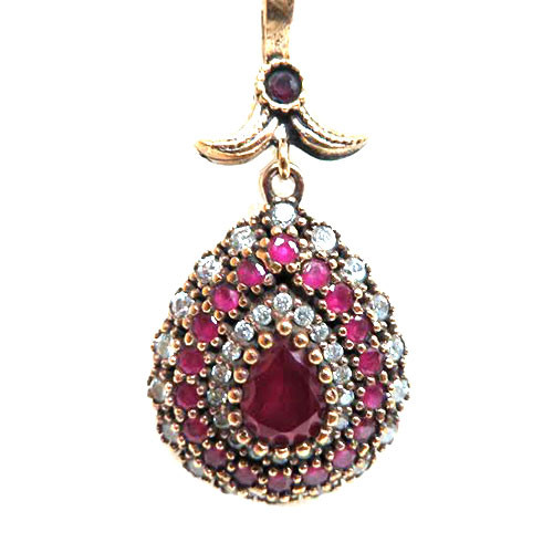 Turkish Ruby and C.Z. Teardrop Necklace