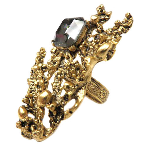 Black Diamond Crystal Nugget Ring