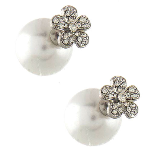 Silver Daisy 360 Pearl Studs