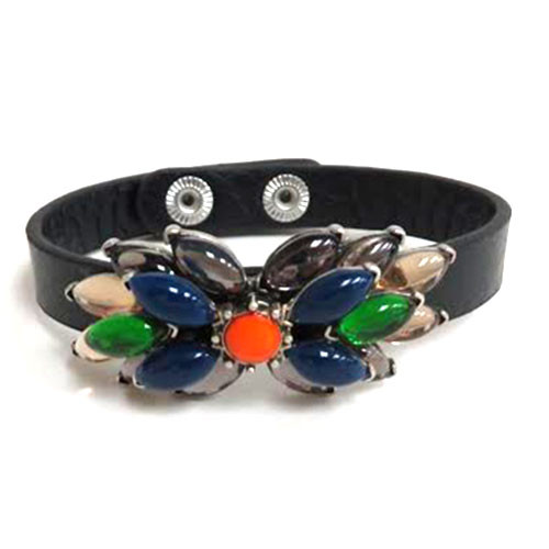Navy/Black Flower Leather Bracelet