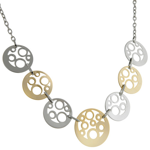Two-Tone Open Circles Short Necklace