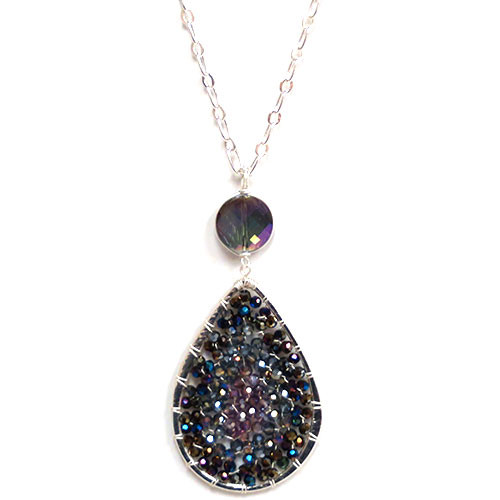 Woven Mesh Beaded Teardrop Necklace