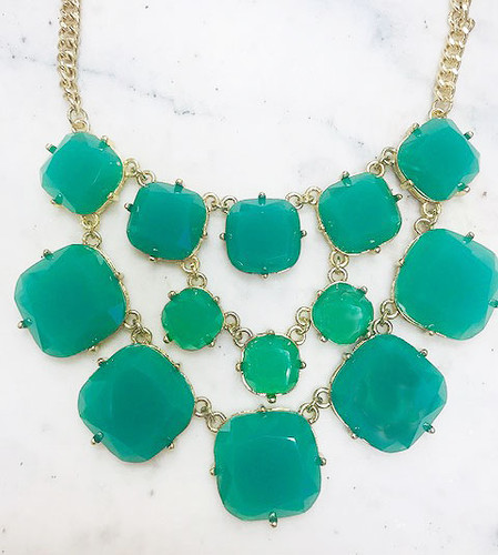 Teal Square Jeweled Statement Necklace