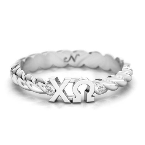 Chi Omega Silver Pava© Twist Letter Ring