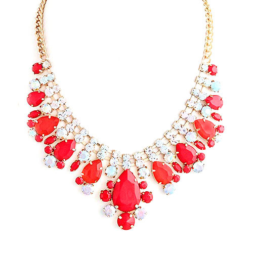 Red Iridescent Bauble Necklace