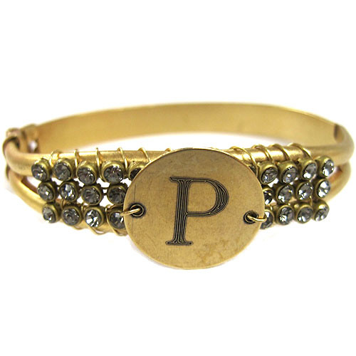 Black Diamond Engraved Initial Cuff Bracelet