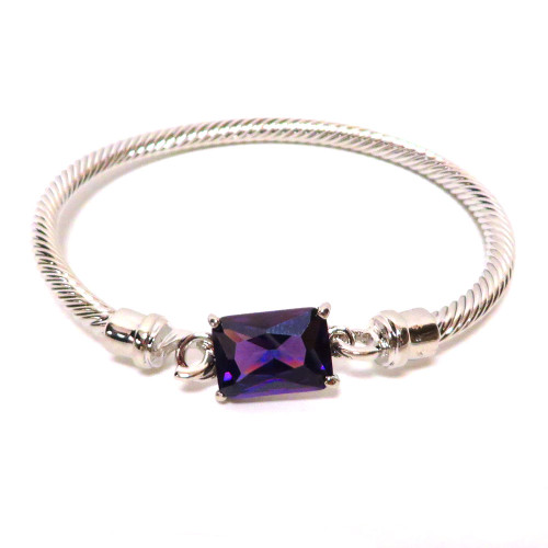 Twisted Cable and Rectangle Crystal Amethyst
