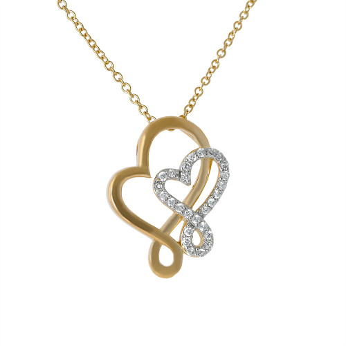 Intertwined Hearts Necklace Mixed Gold and Silver