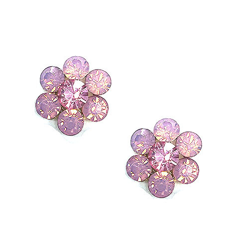 Pink Opalescent Crystal Flower Post Earring