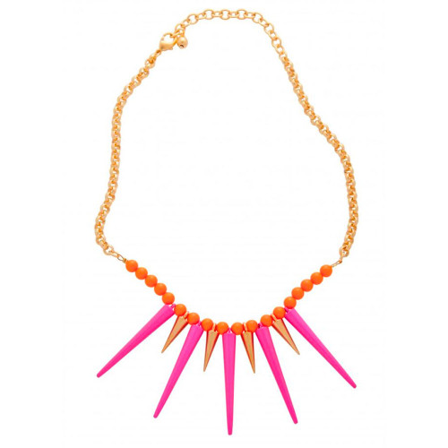 Zoe's Vibrant Pink Spiked Necklace