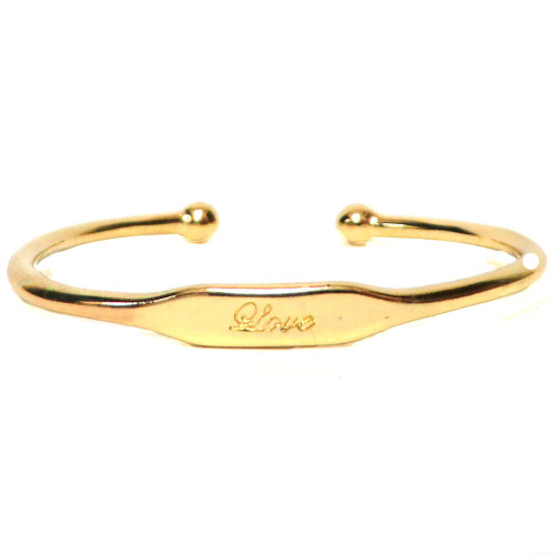 Stamped Love Bracelet Gold