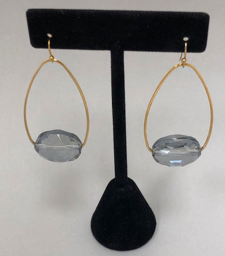 Gray-Blue Crystal on Oval Hoop Earring