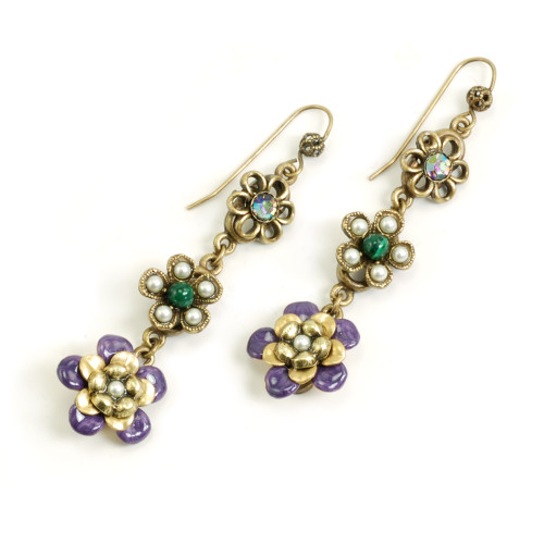 String of Purple Flowers Earrings