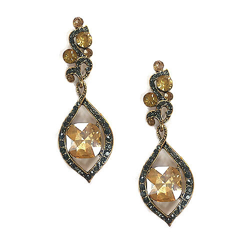 Erinite Green and Champagne Crystal Earring