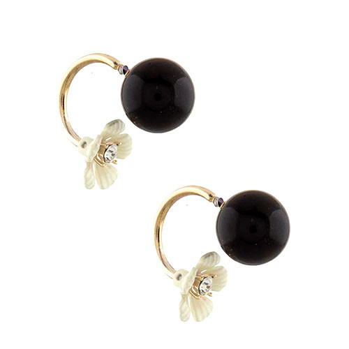 Bubble Button with Peek-a-Boo Flower Earring