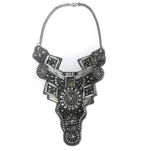 Hand Beaded Mixed Media Silver Bib Necklace