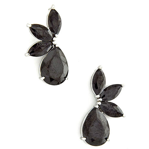 Crescent Leaves and Teardrop Jet Earring