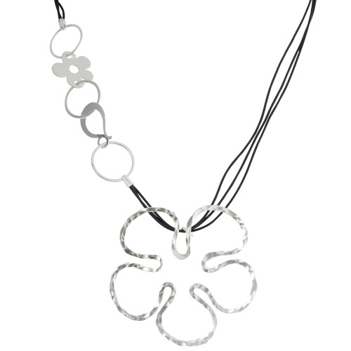 Leather Cords with Retro Flower Necklace