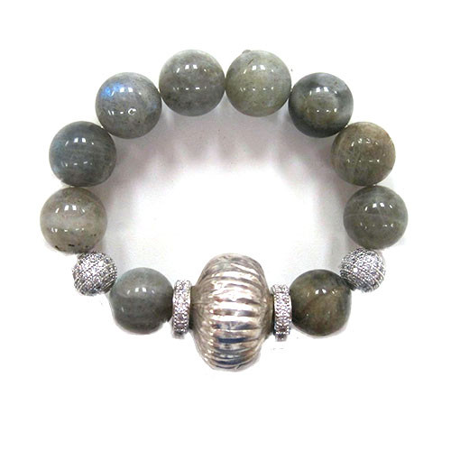 Chunky Labradorite with C.Z. Elements Bracelet