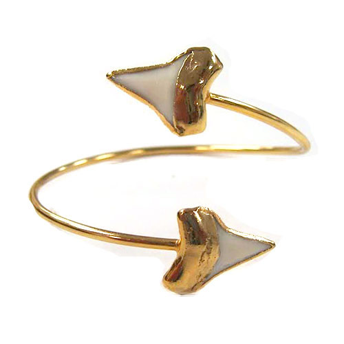 Charlene K's Genuine Double Shark Teeth Open Bangle