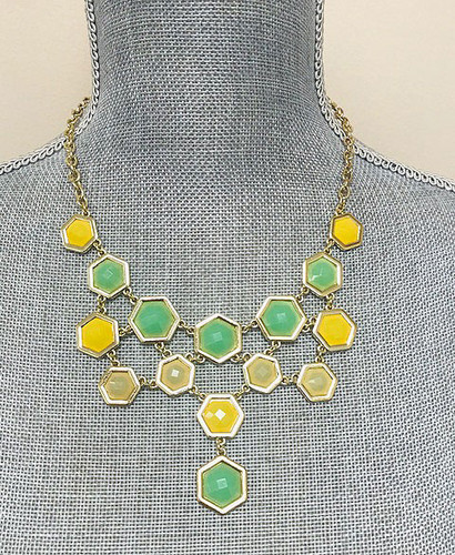Mint and Yellow Hexagon Shaped Jeweled Necklace