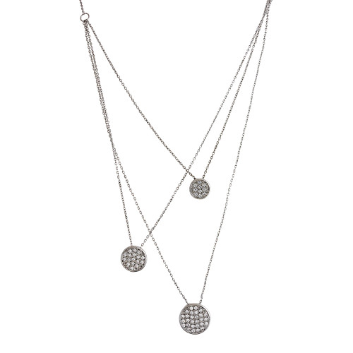 Graduated Pave Cubic Zirconia Disc Necklace