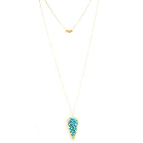 Blue Opal Beads Arrowhead Long Necklace