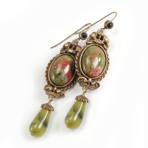 Unakite and Moss Jade Dangle